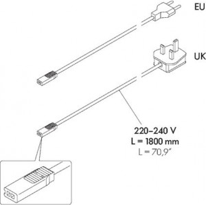 mains cable 220 - 240 V
